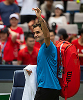 SHANGHAI - OCTOBER 6: Roger Federer of Switzerland waves to the crowd after a practice session before the start of the Rolex Shanghai Masters at Qi Zhong Tennis Centre on October 6, 2018 in Shanghai, China