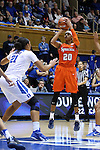 10 February 2017: Syracuse's Brittney Sykes (20) shoots over Duke's Kendall Cooper (21). The Duke University Blue Devils hosted the Syracuse University Orange at Cameron Indoor Stadium in Durham, North Carolina in a 2016-17 Division I Women's Basketball game. Duke won the game 72-55.