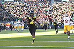Nov 21, 2015; Eugene, OR, USA; Oregon Ducks wide receiver Bralon Addison (2) runs into the end zone for a touchdown against the USC Trojans at Autzen Stadium. <br /> Photo by Jaime Valdez