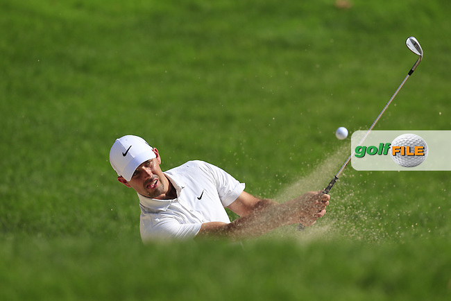 Charl Schwartzel (RSA) chips from a bunker at the 8th green during Thursday's Round 1 of the 2013 Bridgestone Invitational WGC tournament held at the Firestone Country Club, Akron, Ohio. 1st August 2013.<br /> Picture: Eoin Clarke www.golffile.ie