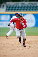 New Hampshire Fisher Cats left fielder Harold Ramirez (23) runs the bases during the first game of a doubleheader against the Harrisburg Senators on May 13, 2018 at FNB Field in Harrisburg, Pennsylvania.  New Hampshire defeated Harrisburg 6-1.  (Mike Janes/Four Seam Images)