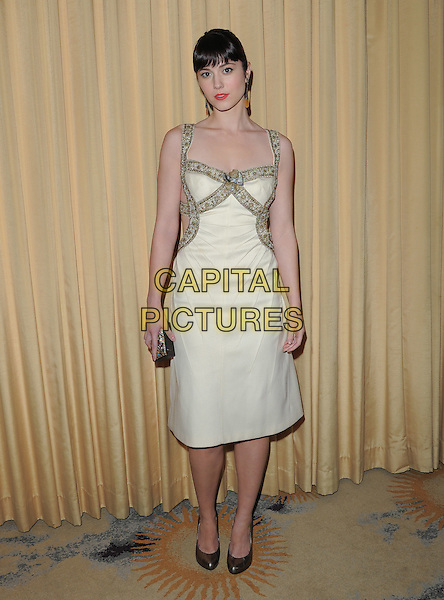 Mary Elizabeth Winstead.Forevermark and In Style 'A Promise of Beauty and Brilliance' held at The Beverly Hills Hotel in Beverly Hills, California, USA..January 10th, 2012.full length dress clutch bag white gold beads beaded  .CAP/RKE/DVS.©DVS/RockinExposures/Capital Pictures.