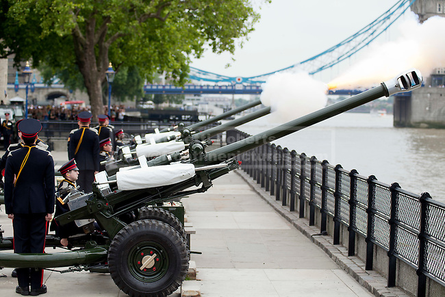 LONDON, UK  02/06/11. Members of the Honourable Artillery Company (HAC) fire a 62 gun salute at the Tower of London to mark the anniversary of the Queen's ascension to the throne in 1953. Photo credit should read Matt Cetti-Roberts
