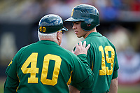 Siena Saints head coach Tony Rossi (40) talks with designated hitter Dan Vasquez (19) during a game against the UCF Knights on February 21, 2016 at Jay Bergman Field in Orlando, Florida.  UCF defeated Siena 11-2.  (Mike Janes/Four Seam Images)