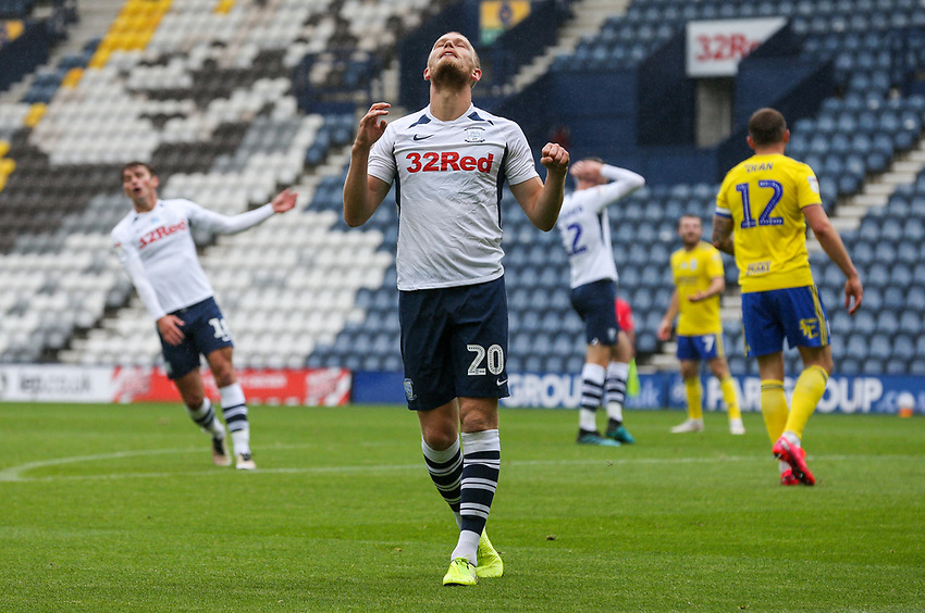 Preston North End's Jayden Stockley rues a missed opportunity<br /> <br /> Photographer Alex Dodd/CameraSport<br /> <br /> The EFL Sky Bet Championship - Leeds United v Barnsley - Thursday 16th July 2020 - Elland Road - Leeds<br /> <br /> World Copyright © 2020 CameraSport. All rights reserved. 43 Linden Ave. Countesthorpe. Leicester. England. LE8 5PG - Tel: +44 (0) 116 277 4147 - admin@camerasport.com - www.camerasport.com<br /> <br /> Photographer Alex Dodd/CameraSport<br /> <br /> The EFL Sky Bet Championship - Preston North End v Birmingham City - Saturday 18th July 2020 - Deepdale Stadium - Preston<br /> <br /> World Copyright © 2020 CameraSport. All rights reserved. 43 Linden Ave. Countesthorpe. Leicester. England. LE8 5PG - Tel: +44 (0) 116 277 4147 - admin@camerasport.com - www.camerasport.com