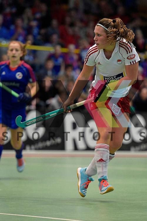 GER - Luebeck, Germany, February 06: During the 1. Bundesliga Damen indoor hockey semi final match at the Final 4 between Rot-Weiss Koeln (white) and Mannheimer HC (blue) on February 6, 2016 at Hansehalle Luebeck in Luebeck, Germany. Final score 1-2 (HT 0-2).   Rebecca Grote #16 of Rot-Weiss Koeln<br /> <br /> Foto &copy; PIX-Sportfotos *** Foto ist honorarpflichtig! *** Auf Anfrage in hoeherer Qualitaet/Aufloesung. Belegexemplar erbeten. Veroeffentlichung ausschliesslich fuer journalistisch-publizistische Zwecke. For editorial use only.