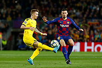 27th November 2019; Camp Nou, Barcelona, Catalonia, Spain; UEFA Champions League Football, Barcelona versus Borussia Dortmund;  Marco Reus control the ball as Lenglet of Barca closes in - Editorial Use