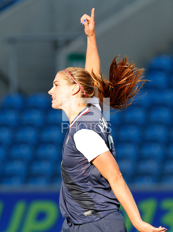 USA's Alex Morgan celebrates her goal against Germany during their Algarve Women's Cup soccer match at Algarve stadium in Faro, March 13, 2013.  .