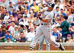 3 July 2005: Carlos Baerga, switch hitting infielder for the Washington Nationals, goes 2 for 6 against the Chicago Cubs. The Nationals defeated the Cubs 5-4 in 12 innings to sweep the 3-game series at Wrigley Field in Chicago, IL. Mandatory Photo Credit: Ed Wolfstein