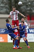 Ben Sheaf of Stevenage rises above Shaun Miller of Crewe Alexandra during Stevenage vs Crewe Alexandra, Sky Bet EFL League 2 Football at the Lamex Stadium on 10th March 2018