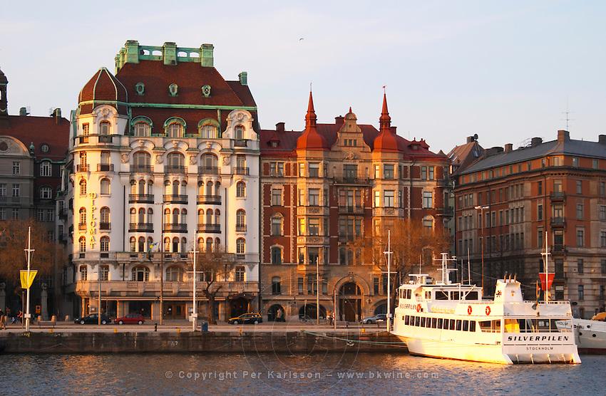 The Hotel Diplomat on Strandvagen, palatial building in jugend art nouveau style. Evening winter light, setting sun. Ostermalm. Stockholm. Sweden, Europe.