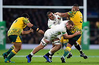 Sekope Kepu of Australia is tackled by Sam Underhill and Kyle Sinckler of England. Quilter International match between England and Australia on November 24, 2018 at Twickenham Stadium in London, England. Photo by: Patrick Khachfe / Onside Images