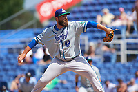 Hartford Yard Goats relief pitcher D.J. Johnson (48) delivers a pitch during a game against the Binghamton Rumble Ponies on July 9, 2017 at NYSEG Stadium in Binghamton, New York.  Hartford defeated Binghamton 7-3.  (Mike Janes/Four Seam Images)