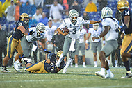 Annapolis, MD - September 8, 2018: Memphis Tigers quarterback Brady White (3) is tackled by Navy Midshipmen defensive end Anthony Villalobos (95) short of the 1st down marker on fourth down to end during game between Memphis and Navy at  Navy-Marine Corps Memorial Stadium in Annapolis, MD. (Photo by Phillip Peters/Media Images International)
