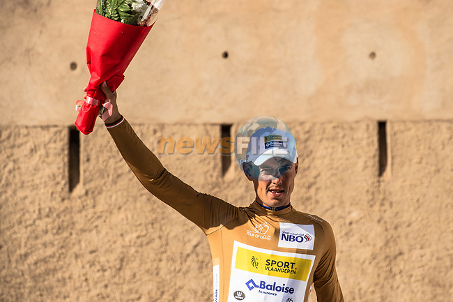 Preben Van Hecke (BEL) Sport Vlaanderen-Baloise retains the most agressive riders Gold Jersey at the end of Stage 5 of the 10th Tour of Oman 2019, running 152km from Samayil to Jabal Al Akhdhar (Green Mountain), Oman. 20th February 2019.<br /> Picture: ASO/Kåre Dehlie Thorstad | Cyclefile<br /> All photos usage must carry mandatory copyright credit (© Cyclefile | ASO/Kåre Dehlie Thorstad)