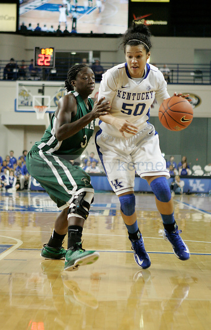 Sophomore forward Azia Bishop dribbles down to the basket in the second half of the UK vs USC Upstate in Memorial Colosseum in Lexington, Ky., on Sunday, November 25th, 2012. Photo by Logan Douglas | Staff.