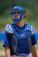 GCL Blue Jays catcher Hagen Danner (33) during a game against the GCL Pirates on July 20, 2017 at Bobby Mattick Training Center at Englebert Complex in Dunedin, Florida.  GCL Pirates defeated the GCL Blue Jays 11-6 in eleven innings.  (Mike Janes/Four Seam Images)