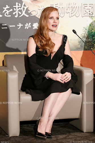 Jessica Chastain speaks during a press conference for her film The Zookeeper's Wife on November 27, 2017, Tokyo, Japan. Chastain greeted fans during the promotional event for the movie which will be released in Japan on December 15. (Photo by Rodrigo Reyes Marin/AFLO)