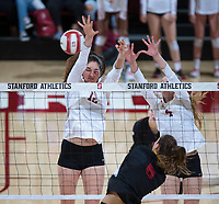 STANFORD, CA - November 15, 2017: Audriana Fitzmorris, Meghan McClure at Maples Pavilion. The Stanford Cardinal defeated USC 3-0 to claim the Pac-12 conference title.