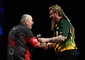 "11th January 2018, Brisbane Royal International Convention Centre, Brisbane, Australia; Pro Darts Showdown Series; Phil ""The Power"" Taylor (GBR) celebrates his 7-4 Semi Final victory over Simon ""The Wizard"" Whitlock (AUS)"
