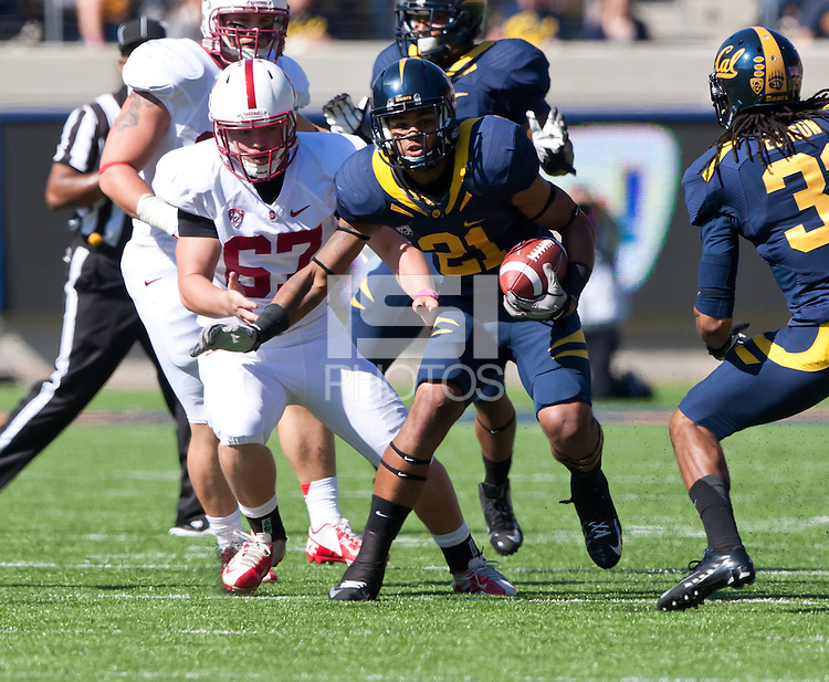 October 20th, 2012: California's Keenan Allen runs down the field during a game against Stanford at Memorial Stadium at Berkeley, Ca   Stanford defeated California 21 - 3