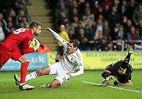 Barclays Premier League, Swansea City (White) V Norwich City (black) Liberty Stadium, Swansea, 08/12/12<br /> Pictured: Swansea's Danny Graham beaten to the ball by keeper Mark Bunn<br /> Picture by: Ben Wyeth / Athena <br /> Athena Picture Agency<br /> info@athena-pictures.com