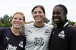 30 August 2009: The St. Louis Athletica trio on the 2009 WPS All-Star team (l-r) Lori Chalupny, Hope Solo, and Tina Ellertson.  The WPS All-Star team defeated the visiting Umea IK 4-2 in the first annual post season All-Star game of the Women's Professional  Soccer league at Anheuser-Busch Soccer Park, in Fenton, MO.