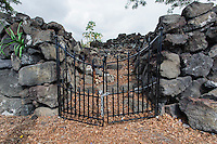 A locked gate at the entrance of Ohi'amukumuku Heiau in Kailua-Kona, Big Island.