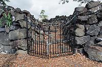 A locked gate at the entrance of Ohi'amukumuku Heiau in Kailua-Kona, Big Island.