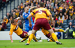 Motherwell v St Johnstone.....16.04.11  Scottish Cup Semi-Final.Danny Graingers shot is blocked by Shaun Hutchison.Picture by Graeme Hart..Copyright Perthshire Picture Agency.Tel: 01738 623350  Mobile: 07990 594431