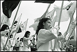 Summer '99-- Jakarta, Indonesia -- Young ladies start the campaign  period off with a march in Monash Park in Jakarta.