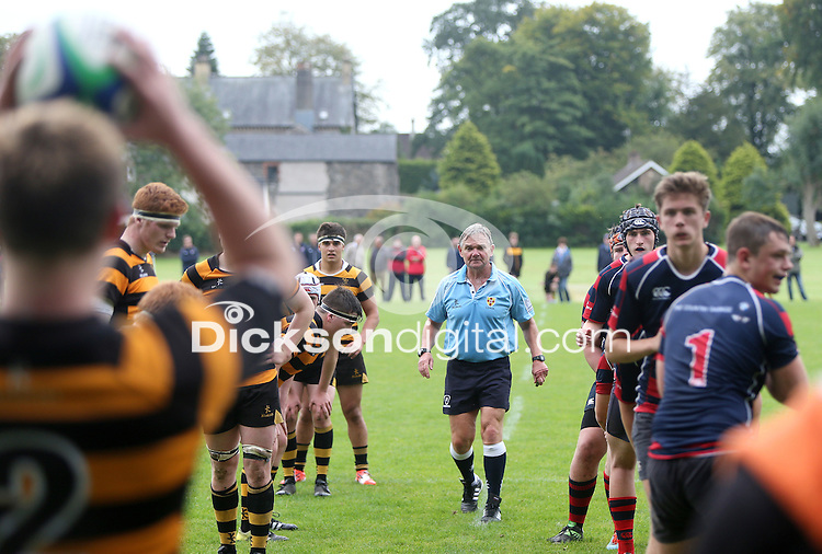 BALLYMENA ACADEMY vs RBAI | Saturday 19th September 2015<br /> <br /> Referee Mark Orr during the a schools friendly fixture at Ballymena Academy, Ballymena, County Antrim, Northern Ireland.<br /> <br /> Photo credit: John Dickson / DICKSONDIGITAL