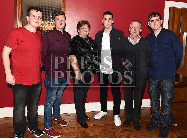 Craig Reay celebrating his 30th birthday in Bru with parents Liam and Sandra and brothers Aaron, Bryan and James. Photo:Colin Bell/pressphotos.ie