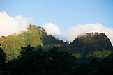 FRENCH POLYNESIA, Moorea. Mountain covered with clouds.