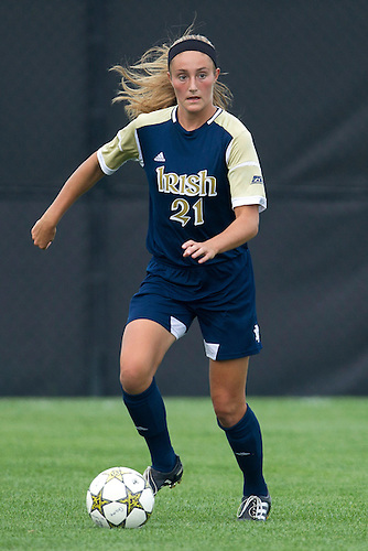 September 02, 2012:  Notre Dame defender Brittany Von Rueden (21) advances the ball during NCAA Soccer match between the Notre Dame Fighting Irish and the North Carolina Tar Heels at Alumni Stadium in South Bend, Indiana.  North Carolina defeated Notre Dame 1-0.