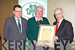 PRESENTATION: James Doyle, Beaufort being presented his Honorary Life Membership to the IFA by deputy president Eddie Downey at the Kerry IFA annual general meeting at the Manor West, Tralee on Monday l-r: James McCarthy (chairman), James Boyle and Eddie Downey (IFA deputy president).