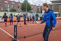The Hague, The Netherlands, September 13, 2017,  Sportcampus , Davis Cup Netherlands - Chech Republic, Streettennis with Thiemo de Bakker (NED) <br /> Photo: Tennisimages/Henk Koster