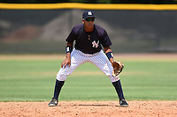 GCL Yankees 1 second baseman Bryan Cuevas (67) during the second game of a doubleheader against the GCL Braves on July 1, 2014 at the Yankees Minor League Complex in Tampa, Florida.  GCL Braves defeated the GCL Yankees 1 by a score of 3-1.  (Mike Janes/Four Seam Images)