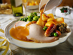 Traditional roast turkey dinner stock photos