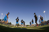 22 May 2008:  A wide angle shot of San Jose Earthquakes' players warm up before the game against the Dynamo at Buck Shaw Stadium in San Jose, California.   San Jose Earthquakes defeated Houston Dynamo, 2-1.