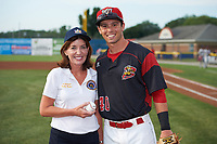 Lieutenant Governor Kathy Hochul poses for a photo with Harrison White (40) after throwing out a ceremonial first pitch before a Batavia Muckdogs game against the Auburn Doubledays on July 6, 2017 at Dwyer Stadium in Batavia, New York.  Auburn defeated Batavia 4-3.  (Mike Janes/Four Seam Images)