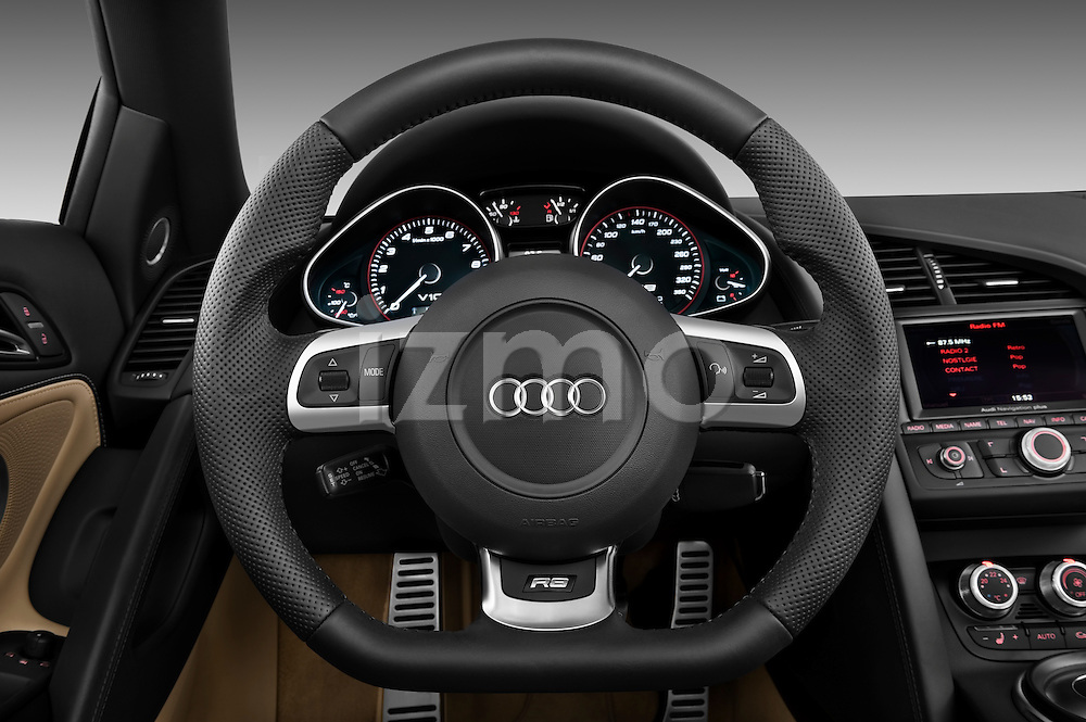 Steering wheel view of a 2010 - 2012 Audi R8 Spyder v10 2 Door Convertible.