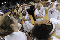March 14, 2010.  Members of the Stanford Cardinal celebrate after they beat the UCLA Bruins to win the 2010 Pac-10 Tournament.