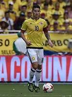 BARRANQUILLA - COLOMBIA - 05-09-2017:  James Rodriguez jugador de Colombia en acción durante partido entre Colombia y Brasil por la fecha 16 de la clasificatoria a la Copa Mundial de la FIFA Rusia 2018 jugado en el estadio Metropolitano Roberto Melendez en Barranquilla. / James Rodriguez player of Colombia in action during the match between Colombia and Brazil for the date 16 of the qualifier to FIFA World Cup Russia 2018 played at Metropolitan stadium Roberto Melendez in Barranquilla. Photo: VizzorImage/ Gabriel Aponte / Staff
