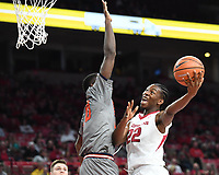 NWA Democrat-Gazette/J.T. WAMPLER Arkansas' Gabe Osabuohien goes up for a shot against Bucknell's Nana Foulland Sunday Nov. 12, 2017 at Bud Walton Arena in Fayetteville. Arkansas won 101-73 and takes on Fresno State Friday at home.