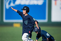 Two young fans compete in a race between innings of a Northwest League game between the Tri-City Dust Devils and the Everett AquaSox at Everett Memorial Stadium on September 3, 2018 in Everett, Washington. The Everett AquaSox defeated the Tri-City Dust Devils by a score of 8-3. (Zachary Lucy/Four Seam Images)