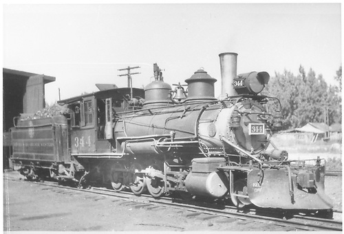 C-19 #344 at roundhouse in Montrose.<br /> D&amp;RGW  Montrose, CO  Taken by Kelley, Frank O. - 1940