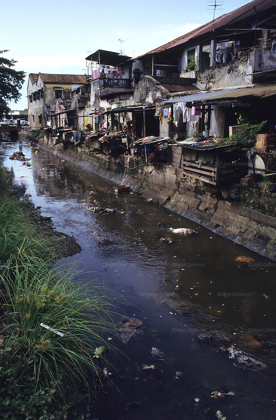 OPEN SEWERS, Malaysia. Open sewers causes health hazards, disease and infections. Penang, West Malaysia