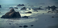 972500005 panoramic view of a massive pacific storm battering the sea stacks along the southernl oregon coast at harris state beach
