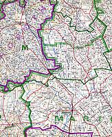 historische Landkarte der Grundstücke in Namibia aus dem Jahr 1960: NAMIBIA, AFRIKA, 30.09.2019: historische Landkarte der Grundstücke in Namibia aus dem Jahr 1960